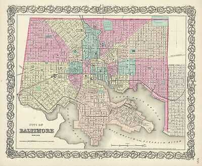 1856 Colton Map of Baltimore, Maryland