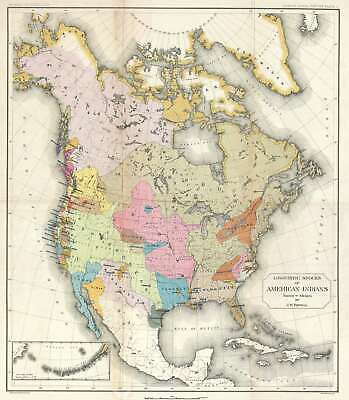 1881 Powell Map of North America w/ Native American Languages