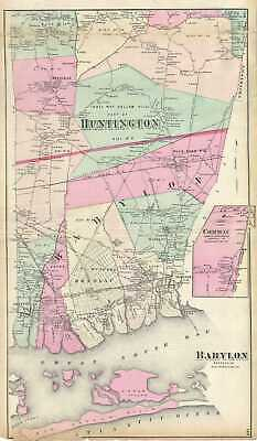 1873 Beers Map of Babylon and Huntington, Long Island, New York