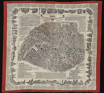 1875 Renault and Buquet Foulard Map of Paris (on linen)
