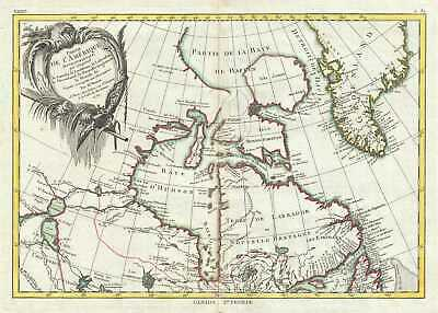 1771 Bonne Map of the Hudson Bay, Canada