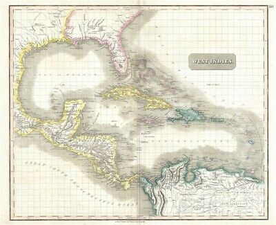 1814 Thomson Map of the West Indies and Central America