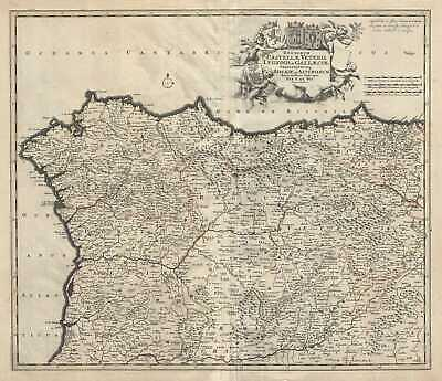 1721 De Wit Map of Northwest Spain: Old Castile, Leon, Galicia, Biscay, Navarre