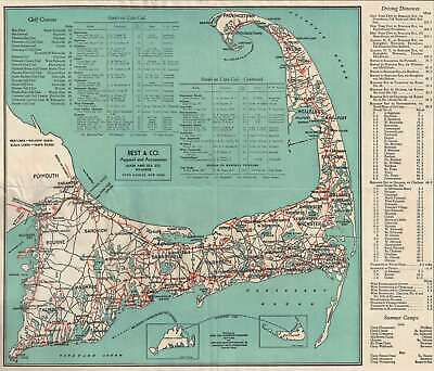 1934 Cape Cod Chamber of Commerce Road Map of Cape Cod