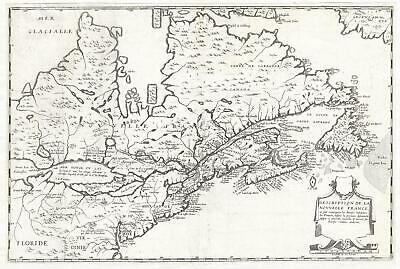 1664 Boisseau Map of New England and Canada (1st to identify all 5 Great Lakes)