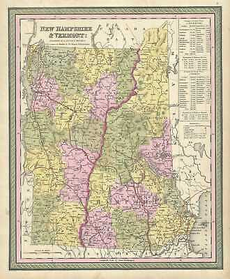 1849 Mitchell Map of New Hampshire and Vermont