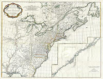 1755 Anville Map of Lousiana, New England, Canada, and Eastern North America