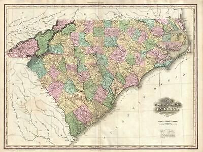 1825 Tanner Map of North Carolina and South Carolina