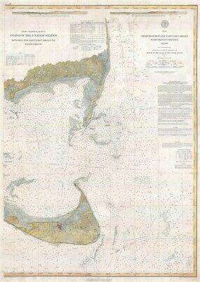 1883 U.S. Coast Survey Nautical Map of Nantucket, Massachusetts