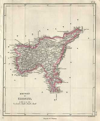 1854 Pharoah and Company Map of the Kurnool District in Andhra Pradesh, India