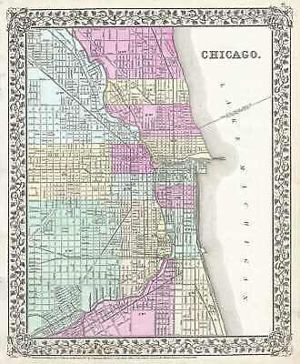 1867 Mitchell Plan or Map of Chicago, Illinois