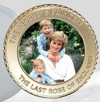 Princess Diana Gold Coin Prince Harry William Autographed Englands Rose Legend