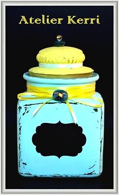 Painted Vintage Glass Apothecary/Seed Jar With Chalkboard Label, Upcycled