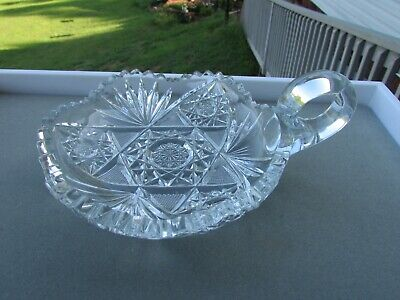 Vintage Nappy American Brilliant Pattern Cut Lead Crystal Handled Sawtooth Rim