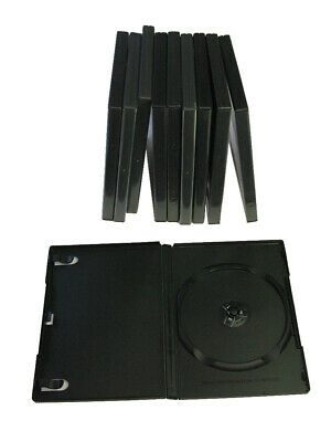 10x DVD cases. Black disc boxes. Empty. DVDs or CD case. Music, film, software.