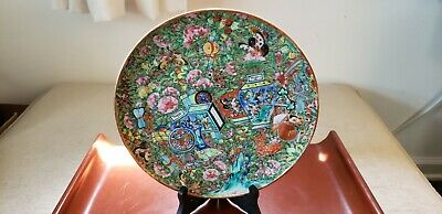 """Rare Chinese Export 9 3/4"""" Famille Rose Plate Enameled Sacred Objects Butterflys"""