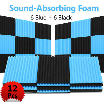 Blue & Black Studio Soundproofing Acoustic Wedge Foam Tiles Wall Panel Treatment