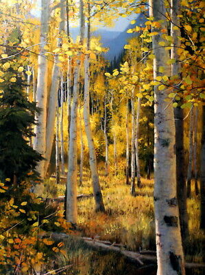 Wall Decor Gilded Forest Oil painting Printed on canvas 12X16 inch P1408