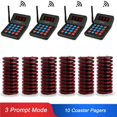 Restaurant Wireless 999CH Calling Queuing System 4*Transmitter&60*Coaster Pager