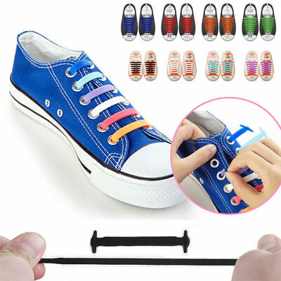 Flat Easy No Tie Shoe Laces Colored Shoelaces Trainers Snickers Kids + Adults UK
