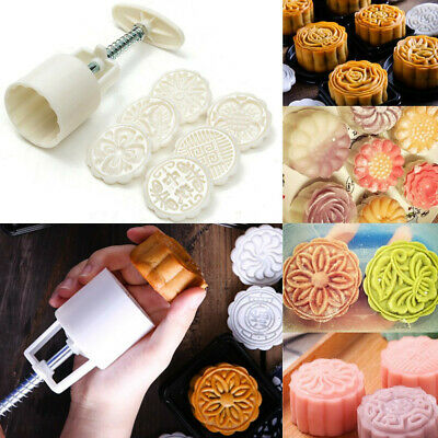 6 Stamps 50g Round Flower Moon Cake Mold Mooncake Mould Set DIY Tool