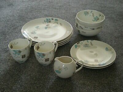 Denby Monsoon VERONICA - 4 Dinner & 2 Salad Plates, 4 Bowls, 2 Mugs, Milk Jug