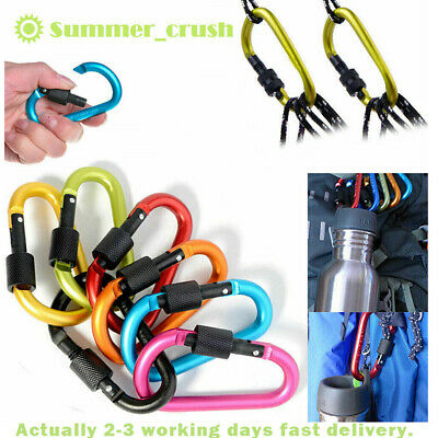 1/6xHeavy Duty Carabiner Clip Hook D-Ring Screw Lock Outdoor Rock Climbing Sport