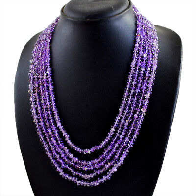 382.00 Cts Natural 5 Strand Purple Amethyst Round Faceted Beads Necklace NK23E24