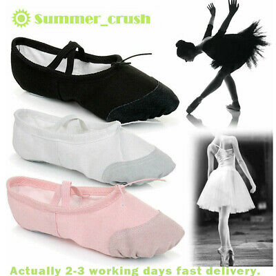 Adult's & Child's Sizes Ballet Dance Canvas Yoga Gymnastic Shoes Split Sole UK