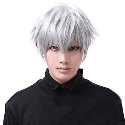 Tokyo Ghoul Kaneki Ken Cosplay Hair Wig Silver Short Layered Synthetic Full Wigs