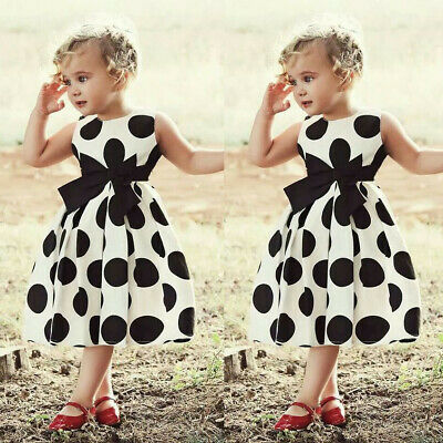 Fashion Toddler Kids Baby Girl Dot Princess Party Bow Sleeveless Dress Outfit KI