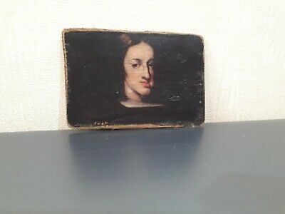 Antique  Miniature  Painting  Of King Charles Ii  Of  Spain  -  17Th Century