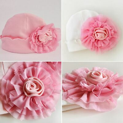 Infant Coming Home Baby Big Flower Hat Soft Cotton Beanie Girl Boy Hospital Cap