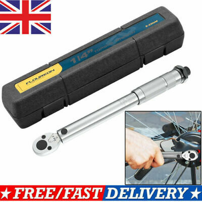 """1/4"""" inch Ratchet Torque Wrench Square Drive Click 5- 25Nm Square Socket W/Case"""