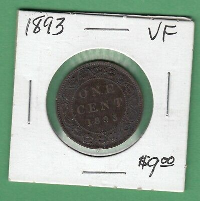 1893 Canadian Large One Cent Coin - VF