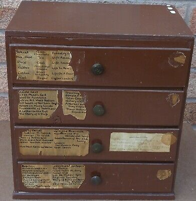 Old Super Looking Useful Wooden Minature Chest Of 4 Drawers