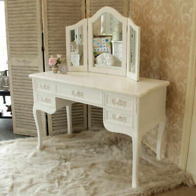 White Wooden Dressing Table Mirror Shabby French Chic Girls Bedroom Make Up Desk