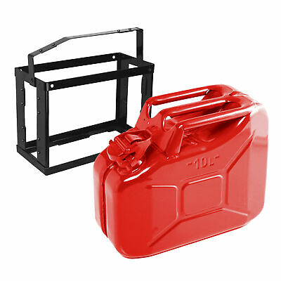 10lt RED Metal Jerry Gerry Can + Lockable Metal Holder Mounting Bracket Mount