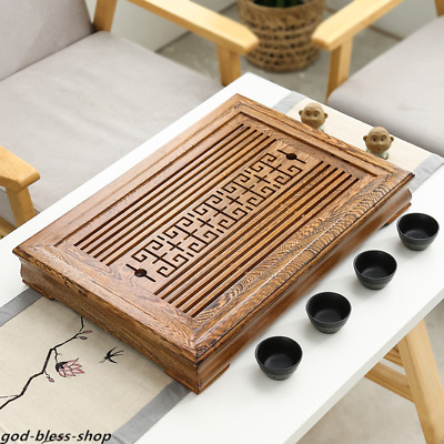 solid wood tea tray Wenge wood / Rosewood tea table with drawer wooden tea boat
