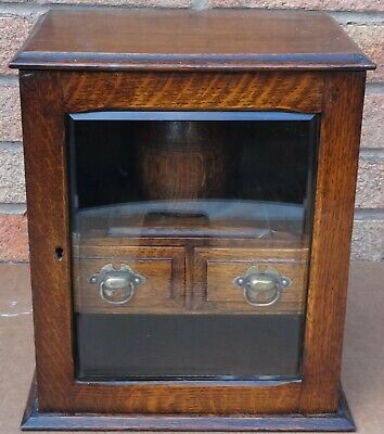 Old Large Wooden Smokers Cabinet With 2 Drawers And Bevelled Glass To Front
