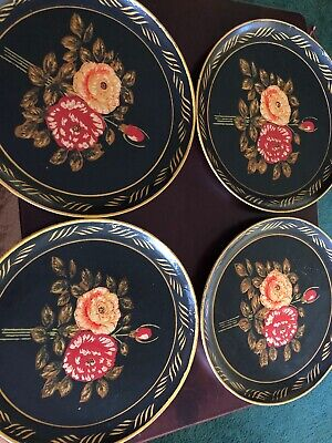 "Vintage Hand Painted Occupied Japan 9"" Plates, Roses/Flowers Set Of 4"
