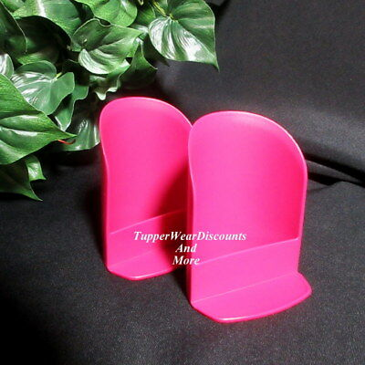 Tupperware NEW Set of 2-Raspberry Pink Rhubarb Round ROCKER Scoop SCOOPS
