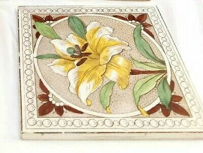 4 Antique Wall Tiles Various Makers Victorian Floral Flowers Majolica