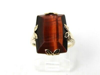 Antique Victorian 10k Yellow Gold Natural Red Tigers Eye Ladies Ring 3.3g