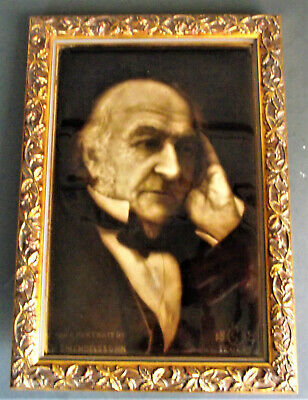 Antique WILLIAM GLADSTONE PORTRAIT PLAQUE PORCELAIN POTTERY TILE SHERWIN COTTON