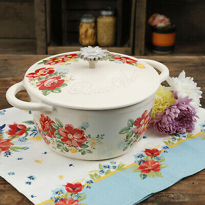 The Pioneer Woman Floral Vintage Enameled Cast Iron Casserole Dish 3 Quart Lid
