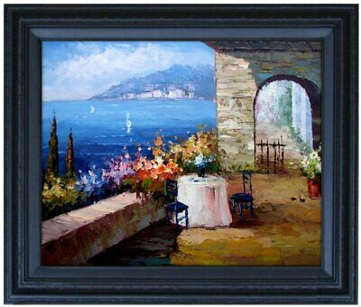 Framed Mediterranean Seaside Villas 10 Quality Hand Painted Oil Painting 16x20in