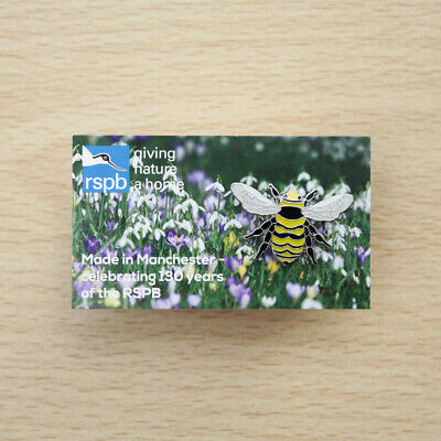 RSPB Pin Badge Great Yellow Bumblebee on Made in Manchester Picture Card