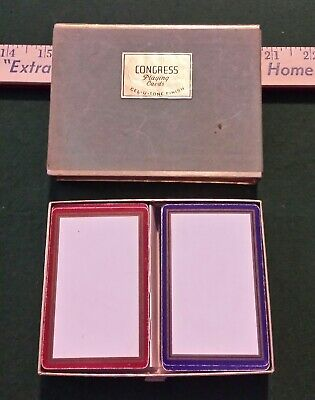 Vintage Congress Cel-u-Tone Double Deck Red Blue Bridge Playing Cards in Case