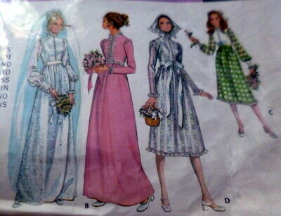 *LOVELY VTG 1970s WEDDING DRESS McCALL Sewing Pattern 10/32.5